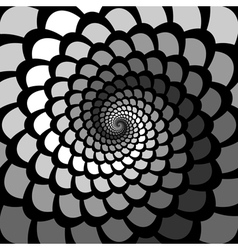 Monochrome abstract spiral rotation background vector