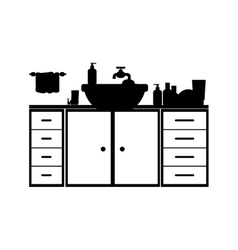 monochrome silhouette washstand with furniture vector image