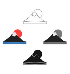 Mount fuji icon in cartoonblack style isolated on vector