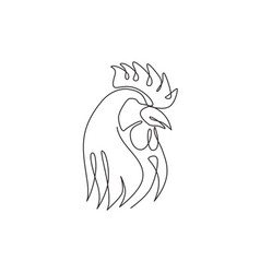 one continuous line drawing tough rooster vector image