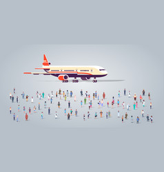 People group on airport terminal with aircraft vector