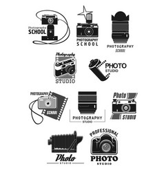 Photography studio icon set with photo camera vector