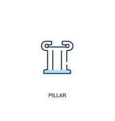 Pillar concept 2 colored icon simple line element vector