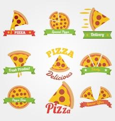 Pizza flat vintage label vector
