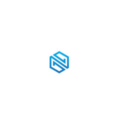 polygon line technology logo vector image