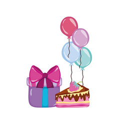 Present gift with cake and balloons birthday party vector