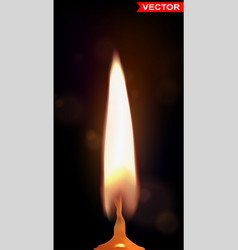 Realistic burning wax candle with flame vector