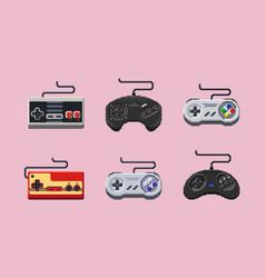 retro console gamepads in pixelart style vector image