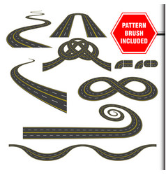 Road curves perspectives turns twists loops vector