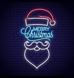 Santa claus neon sign merry christmas neon banner vector
