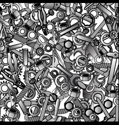 Seamless pattern with hand drawn hammer nuts vector