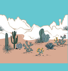 Seamless pattern with mountains blooming cacti vector