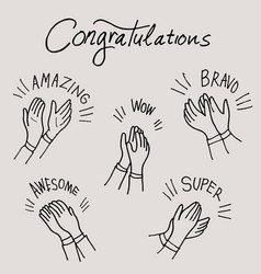 Set different clapping hands hand drawn vector
