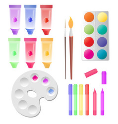 set for children creativity tubes with paints vector image