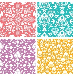Set four floral abstract seamless pattern vector