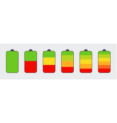 set of battery charge level indicators vertical vector image