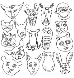 set of doodle funny and cute animals vector image