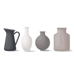 Set vases different shapes and colors vector