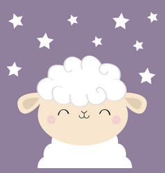 Sheep lamb sleeping face head icon cloud shape vector