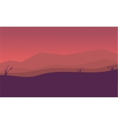Silhouette of mountain and fog landscape vector