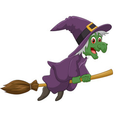 Sinister witch was riding broomstick on white back vector