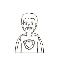 Sketch contour caricature half body super dad hero vector