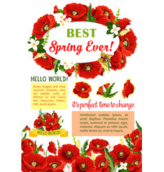 Spring flower wreath for poster template design vector
