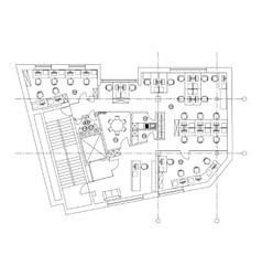 Standard office furniture symbols on floor plans vector