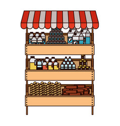 Supermarket shelf with sunshade colorful vector