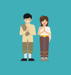 thai man and woman wearing typical dress vector image