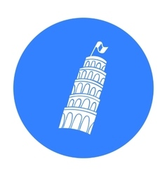 Tower of Pisa in Italy icon in black style vector