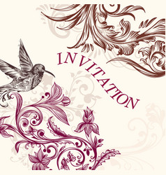 Wedding invitation with bird and swirls vector