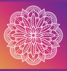 White flower mandala oriental asian arabian vector