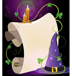 Witch hat and burning candles vector image