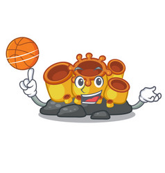 With basketball miniature orange sponge coral in vector