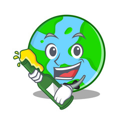 With beer world globe character cartoon vector