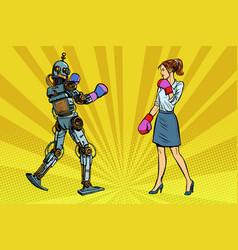 woman businesswoman boxing with a robot vector image