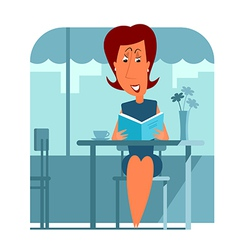 Woman in cafe reading book vector image
