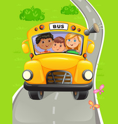 Yellow bus with kids going to school vector