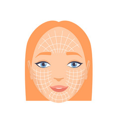 Young woman face with massage lines rejuvenating vector