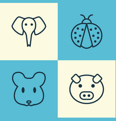 Zoo icons set collection of ladybird piglet vector