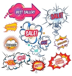 Comic Speech Bubbles With Sale Set vector image