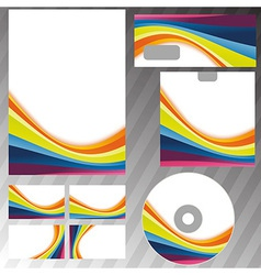 Corporate style rainbow stationery template vector image