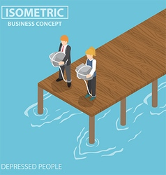 Isometric depressed businessman with rock and rope vector