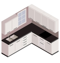 isometric white kitchen vector image