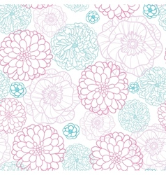 Pink Blue Flowers Lineart Seamless Pattern vector image vector image