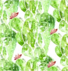 Seamles watercolor cactus background vector image vector image