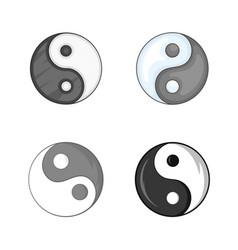 yin yang symbol icon set cartoon style vector image