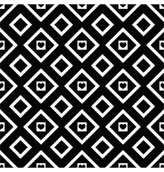 Abstract black and white seamless pattern hearts vector image vector image