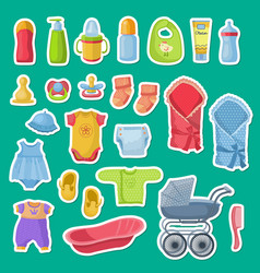 baby accessories stickers isolated on blue vector image